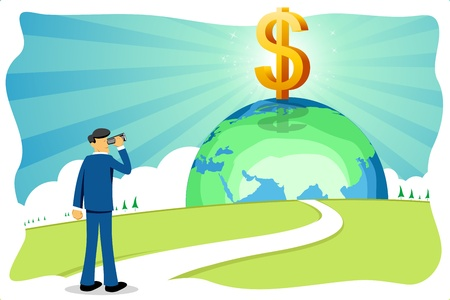 way bill: illustration of businessman with dollar and globe