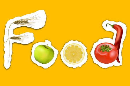 illustration of food text with fruits Vector