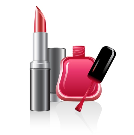 illustration of nail polish and lipstick on white background Stock Vector - 8637354