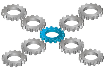 illustration of cog wheels on white background Vector
