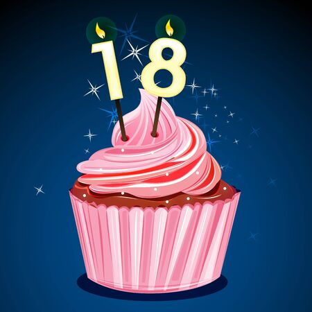illustration of pretty birthday cake Vector