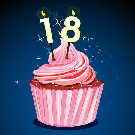 number candles: Ilustraci�n de la torta de cumplea�os bonita