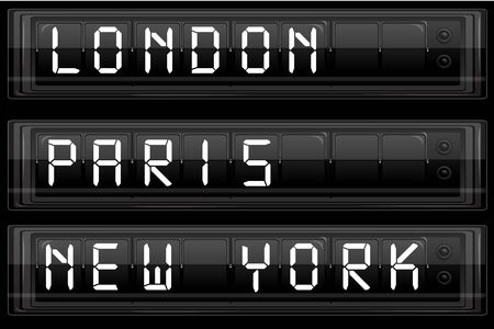 newyork: illustration of display board with london paris and new york