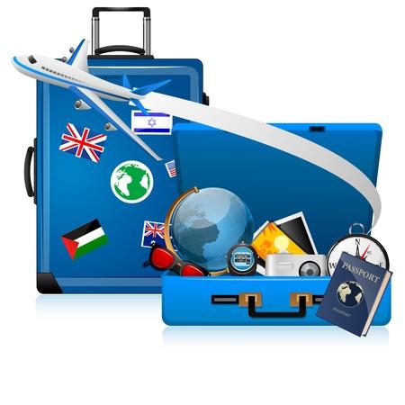 illustratie van wereldtournee op witte achtergrond
