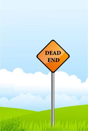 disrepair: illustration of dead end pole on natural background