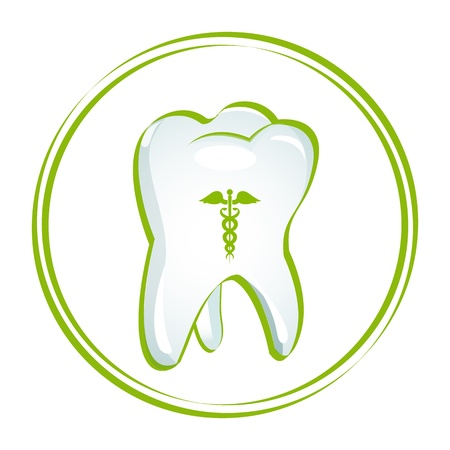 anesthesia: illustration of healthy teeth on white background