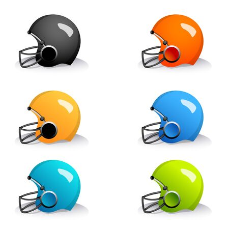 football helmet: illustration of colorful helmets on white background