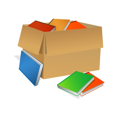 safety box: illustration of books in box on white background