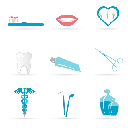 toiletry: illustration of dental icons on white background