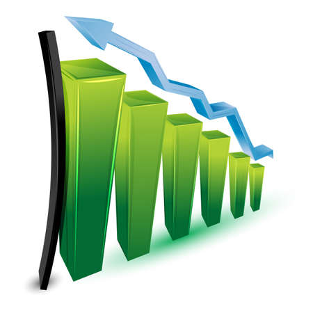 growing business: illustration of growing business graph on white background