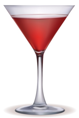 illustration of cocktail glass on white background Vector