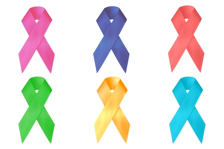 illustration of breast cancer awareness ribbons on white background Vector