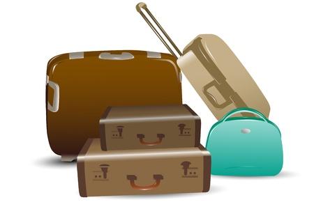 packed: illustration of luggage on white background Illustration