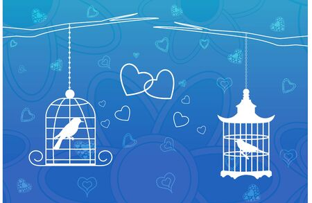illustration of love birds in cage Vector