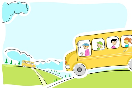ni�os saliendo de la escuela: Ilustraci�n de autob�s escolar en camino