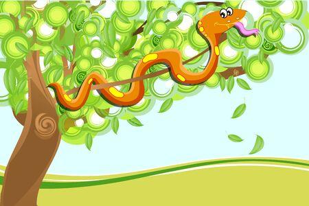 wriggle: illustration of snake on tree