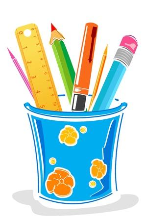 illustratie van pennen en potloden in vak op geïsoleerde achtergrond Vector Illustratie