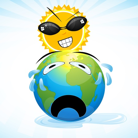 weep: illustration of global warming on white background Illustration