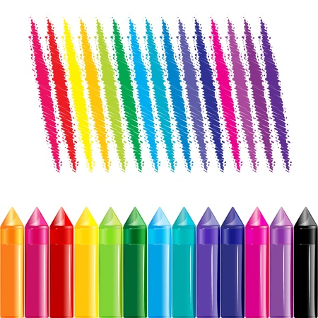 illustration of colorful crayons on white background