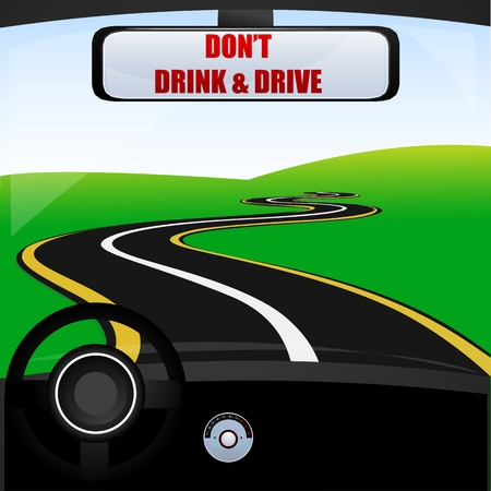 long road: illustration of dont drink and drive Illustration