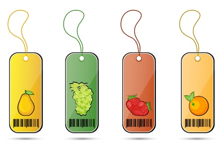 illustration of fruit tags on white background Stock Vector - 8637474