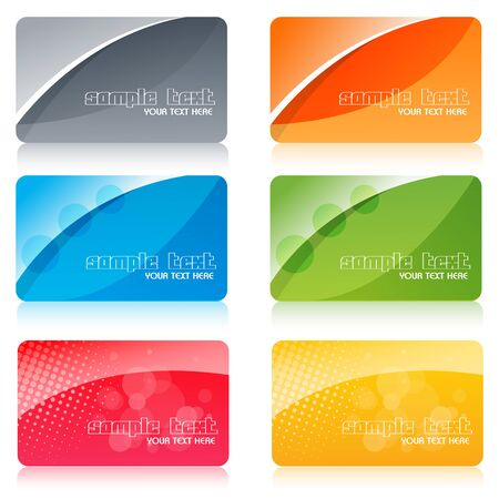 plastic card: illustration of colorful cards on white background