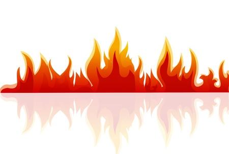 Illustration du feu sur fond blanc