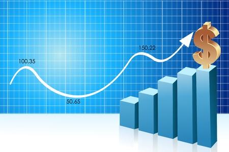 Abbildung der Visitenkarte mit Graph und dollar Vektorgrafik