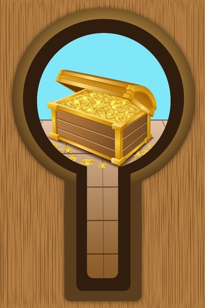 illustration of treasure chest with coins Vector