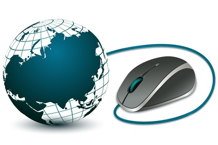 illustration of computer mouse with globe on white background Vector