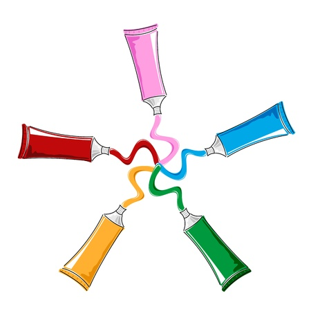 paint container: illustration of color tubes on isolated background