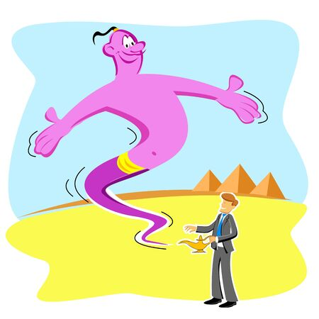 illustration of businessman with genie Vector