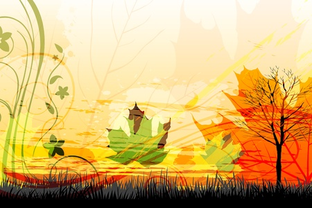 dry leaf: illustration of abstract autumn card