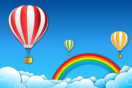 sky dive: illustration of parachute with rainbow