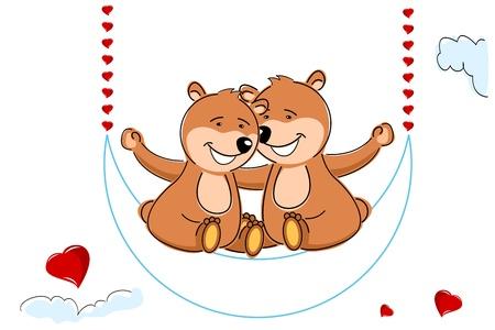 truelove: illustration of loving teddy bears on white background Illustration