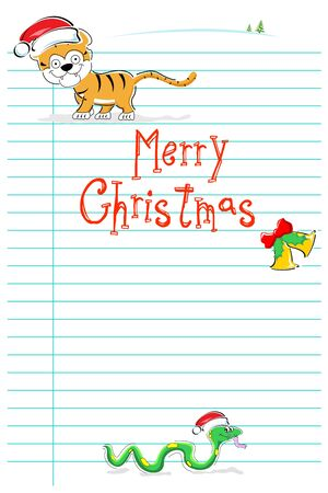 illustration of merry christmas card with wild animals on white background Vector