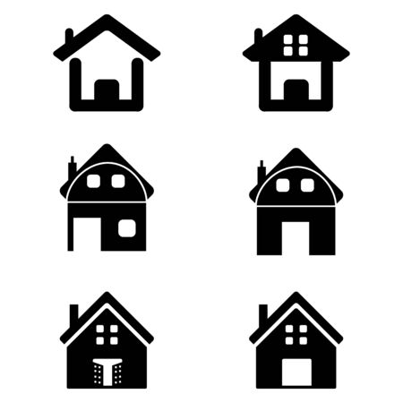 illustration of various homes on white background