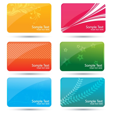 debit: illustration of colorful business cards on white background