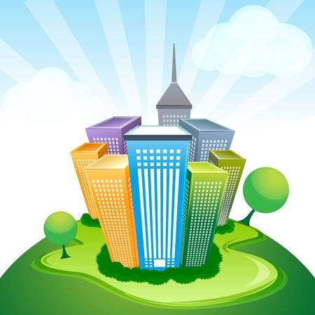 investment real state: Ilustración de edificios corporativos