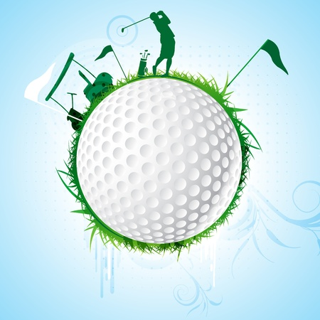 golf equipment: illustration of golf sport on white background Illustration