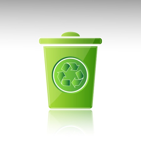 illustration of recycle bin on white background Vector