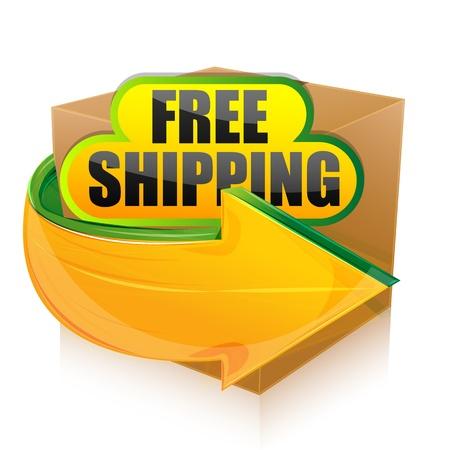 verhuis dozen: illustratie van gratis verzending op witte achtergrond Stock Illustratie