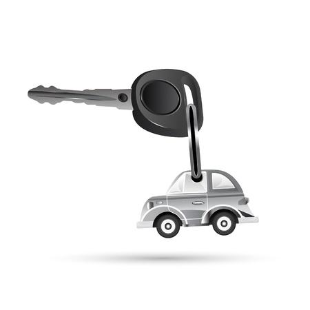 car key: illustration of key with car on white background