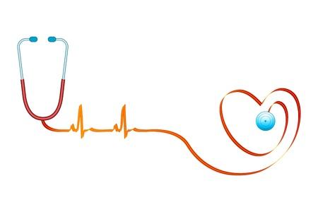 puls: Ilustracja zdrowe serce na tle izolowane