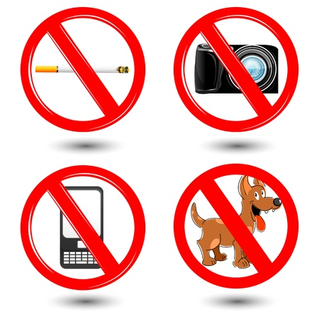 illustration of warning icons on white background Vector