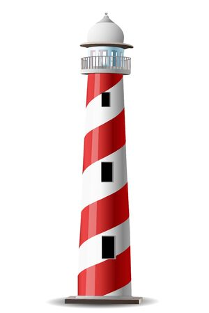 lighthouse at night: Ilustraci�n de Faro sobre fondo blanco