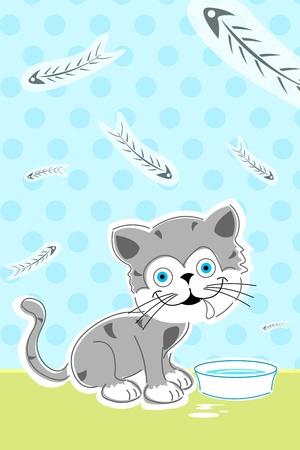 illustration of cat with fish bones Vector