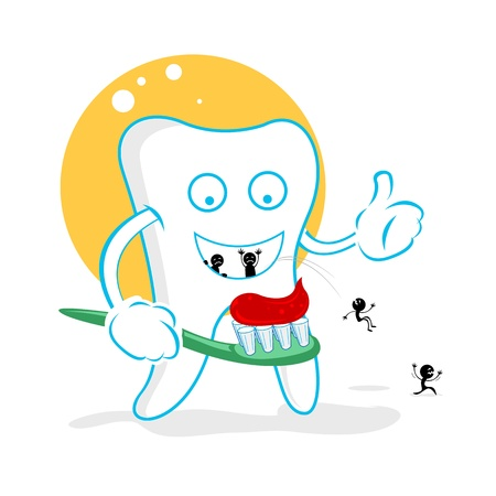 teeth whitening: illustration of happy dent with germs on white background Illustration