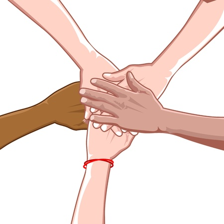 racial: illustration of multi racial unity on white background Illustration