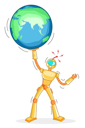 illustration of robot holding globe on white background Vector